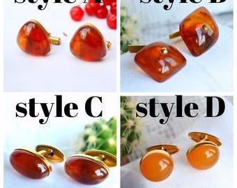 Vintage Amber Cufflinks, Baltic Amber, triangular Cufflinks, Art Deco Cufflinks, Mens Jewelry, Mad Men fan, Honey Warm Caramel