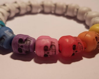 Handmade stretchy white with multicoloured skull bead bracelet.