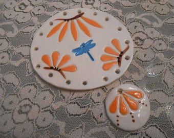 Fun Flowers Pine Needle Base with dragonfly with bonus bead