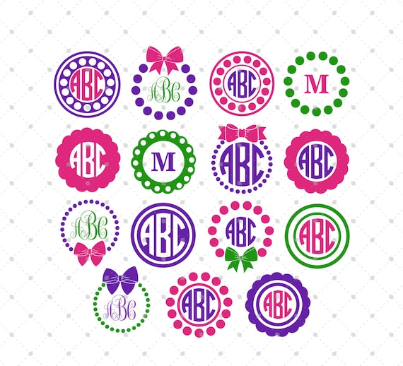 circle monogram frame svg bow and pearls svg cut files for