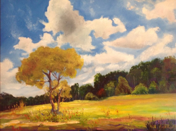 Big Sky Painting, Large Oil Painting, Indiana Sky, Rural Landscape, Cloudy Skyscape