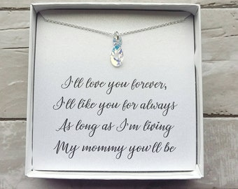Mother's day gift- gift for mom- infinity necklace- mother of the bride gift- Swarovski crystal- I'll Love you forever- sterling silver
