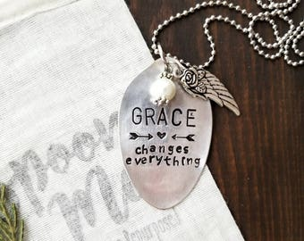 Hand Stamped Necklace, Spoon Handle Necklace, Spoon Necklace, Spoon Pendant, Spoon Jewelry, Gifts For Her, Handmade Jewelry, Silver Pendant