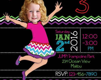 Trampoline Bounce House Birthday Party Invitation for girl or boy- Personalized with your photo DIGITAL FILE