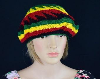 Womens Hat Mens Hat Rhasta Ethnic Jamaican Crotchet Colorful Rasta Slouch Hat