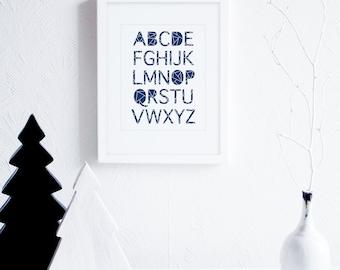 ABC's Print, ABC Prints, Geometric Typography Art Print, ABC Art Print, Modern Baby Room, Navy and White Nursery Decor, Modern Baby Decor