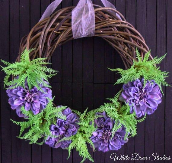 Purple Dahlia and Succulent Wreath