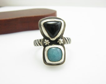 Double Stone Ring Handmade Sterling Silver Onyx and Amazonite Double Stacked Stone Ring Geometric Ring Trillion Cut Onyx Ring