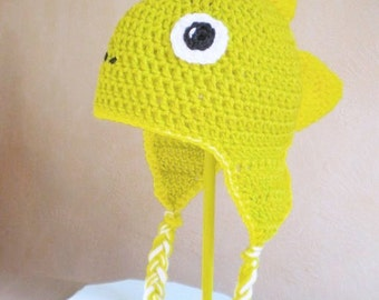 Crochet Hat - Dinosaur Hat in Lime Green and Yellow with Braids - Silly Stegosaurus Hat for Boys or Girls