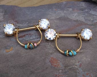 Crystal Gold Nipple Ring Gold Nipple Piercing