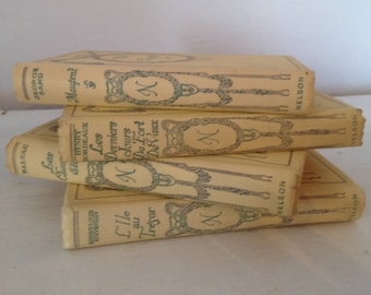 Vintage French books, antique book set, 4 french books in cream mauve and green , decorative book bundle, book stack, Nelson books,
