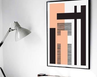 GEO LANDSCAPE pink // Poster Abstract art, 18x24, minimalist art, geometric print, scandinavian style, Nordic design, black and white