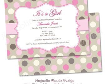 Girls Polka Dot Light Pink and Brown Baby Shower Invitation, Girls Baby Shower Invitation, Polka Dot Baby Shower - Printable Digital File