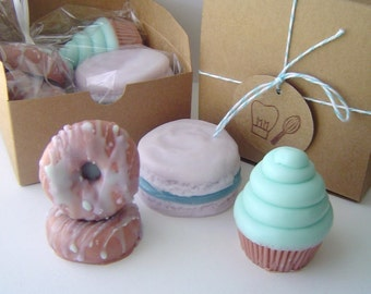 Sweet Treat Gift Set - Cotton Candy Mini Swirl Cupcake, Almond Scented French Macaron, 2 French Vanilla Mini Donuts - Goat Milk - Gift Set