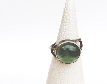 Sterling silver and prehnite ring - double band with oxidization