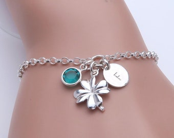 Lucky Clover Bracelet, personalised with initial and birthstone - sterling silver - good luck gift, four leaf clover charm