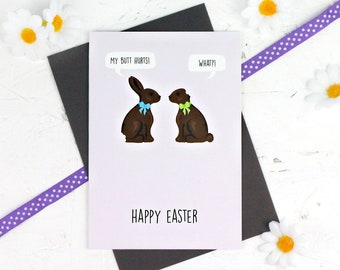 Easter Bunny Card, Funny Easter Card, Easter Card, Happy Easter Card, Chocolate Bunny Card, Easter Bunnies, Chocolate Card, Easter Bunny