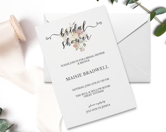 Bridal Shower Invitation | Bridal Shower Invites |  Bridal Shower | Printable Bridal Shower Invitation | Calligraphy | Digital Invite