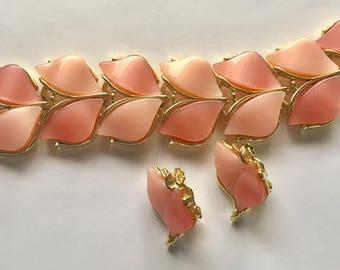 Vintage Pink Thermoset Plastic Demi Parure Bracelet Earrings
