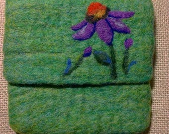 Felted Wool Flower Purse / Pouch, Needle and Wet Felted, Green, Coneflower, Daisy, Daisies