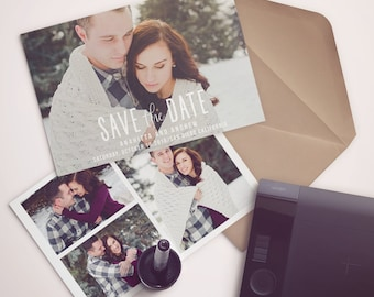 Save the Date Template for Photographers, Save the Date Card Announcement, Engagement Photography - Photoshop Templates - SD010