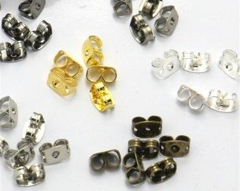 Wholesale 100 pairs( 200pcs) Butterfly Ear Nuts Earrings Backs Stoppers Findings