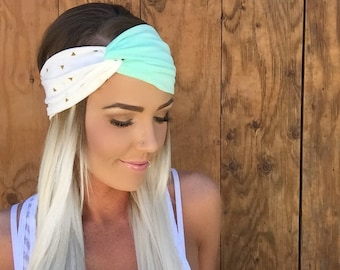 Boho Gold Triangle Turban Headband || Pastel Mint Green White Cream Ivory Arrow Stretch Jersey Knit Cotton Hair Bohemian Festival Accessory