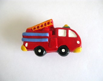 Firetruck Knob - red fire engine drawer knob
