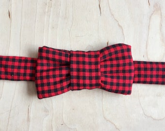 Red Check Print Bow Tie For Cats