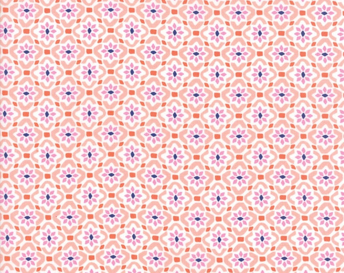 VOYAGE - Porto in Mandarin Orange - Blue Pink Floral Geometric Cotton Quilt Fabric - 27287-12 - Kate Spain for Moda Fabrics (W4513)