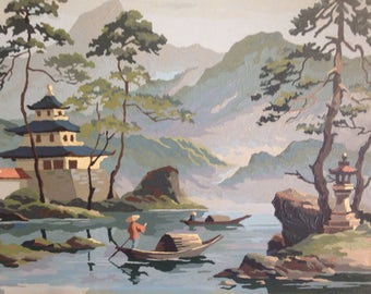 Paint by number oriental scene