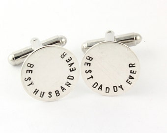 Best Husband Cufflinks - Best Daddy Cufflinks - Round Cufflinks - Sterling Silver Cufflinks - Personalized Cuff Links - Custom Cufflinks