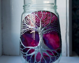 Hand Painted Silver Tree of Life on a Purple Pink Galaxy. Glass Votive Candle Holder.