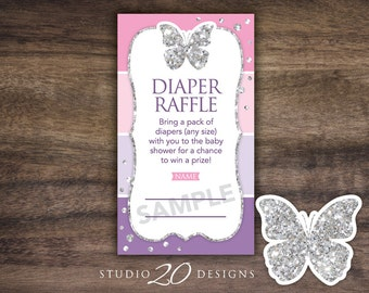 Instant Download Pink Purple Butterfly Baby Shower Diaper Raffle, Printable Silver Glitter Diaper Prize Drawing, Butterfly Baby Shower 61C