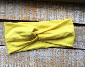 Wide Headband - Twisted Turban Headband - Womens Headband - Yoga Headband- Yellow