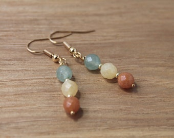 Faceted green and orange aventurine with yellow calcite earrings