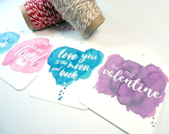 Valentine Gift Tags - Watercolour Gift Tags - Gift Tags for Valentine Presents - Valentine Gift Idea - Handmade Gift Tag