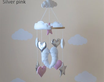 Handmade little angel wings nursery mobile gold /silver pink and white
