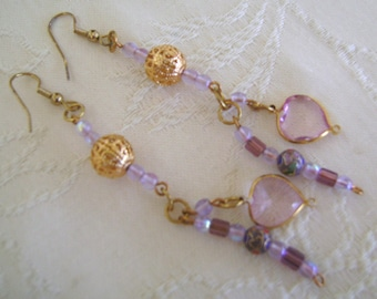Hand Beaded Pierced Earrings French Hooks, Gold, Purple, White Dangles