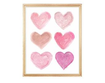 Girls Room Decor, Pink Wall Art, Pink Nursery Art, 8x10 Watercolor Heart Print, Pink Nursery Decor, Girl Nursery Decor, Nursery Watercolor