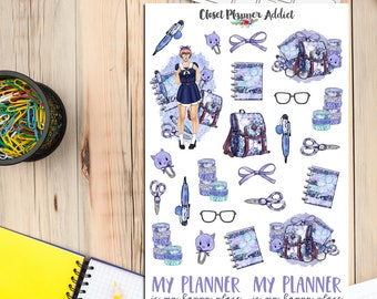 Kawaii Watercolour Planner Girl Planner Stickers | Planner Girl | Watercolour Stickers | Stationery Stickers | Washi Tape Stickers (S-260)