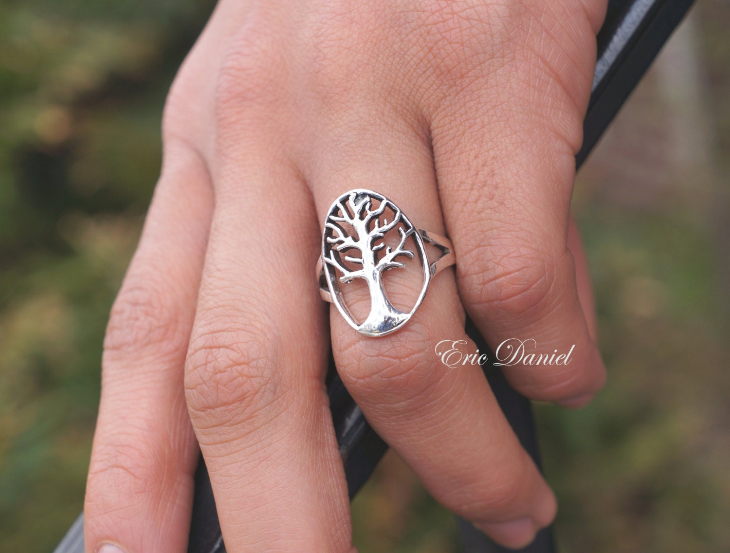 Solid Gold Large Tree of Life Ring in White Gold Yellow Gold