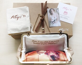 Photo and Embroidery Personalization Bundle for ANGEE W. Bridal and Bridesmaids Clutch Purses