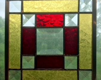 """Jo's Bevel 6"""" Handmade Stained Glass Appalachian Quilt Square in Red/Gold with Nine Clear Glass Bevels"""