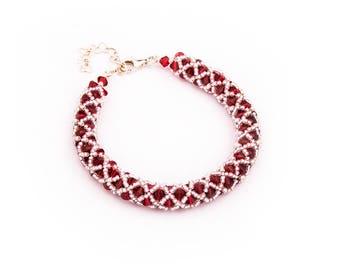 Swarovski Beaded Bracelet - Handmade Bracelet - Netted Bracelet - Simple Bracelet - Stirling Silver