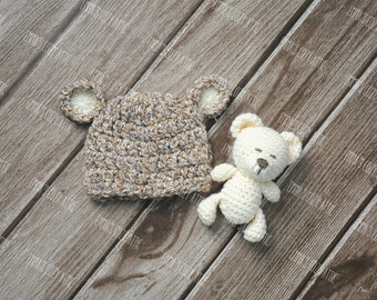Newborn bear hat and teddy bear set, newborn photo prop, baby boy girl baby bear hat coming home outfit