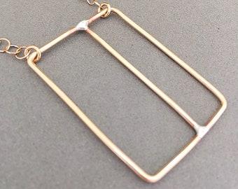 Bronze Wire Necklace - Double Rectangle Wire Necklace - Modern Minimalist Jewelry - Bronze Pendant - Wire Jewelry   0081