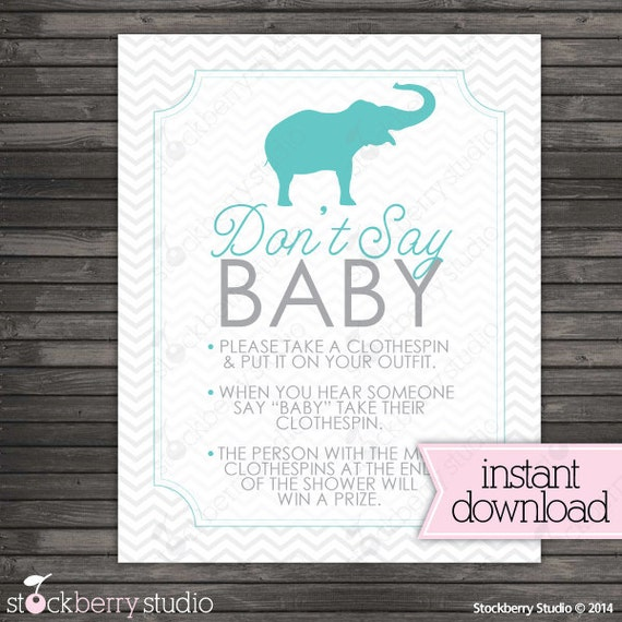 Chevron Elephant Donu0027t Say Baby Shower Game Sign