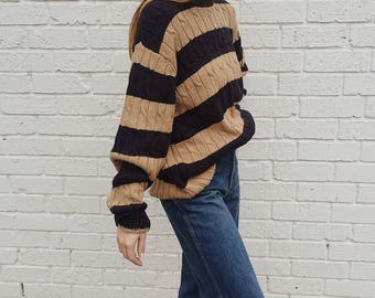 Vintage Chunky Striped Oversized Cable Knit Eddie Bauer Sweater