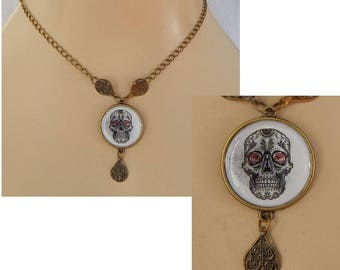 Gold Sugar Skull Pendant Necklace Jewelry Handmade NEW Day of the Dead Accessories Fashion Chain